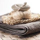 Display of towel loofah and pumice for spa treatment Royalty Free Stock Photo