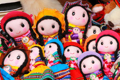 Display of traditional dolls at the market in Lima, Peru Stock Photography