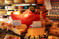 Display of traditional Dutch cheese, Amsterdam, the Netherlands Royalty Free Stock Images