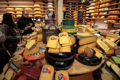 Display of traditional Dutch cheese, like Edam and Gouda cheese at local cheese shop, Alkmaar,. The Netherlands stock photo