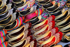 Display of traditional Indian slippers Stock Image