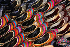 Display of traditional Indian slippers Stock Photography