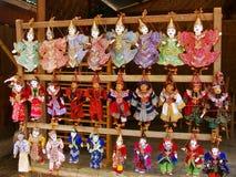 Display of traditional puppets at the street market, Mingun, Man. Dalay region, Myanmar Royalty Free Stock Image