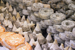 Display of traditional and regional French cheeses Stock Images
