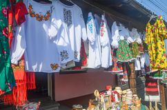 Display of traditional Romanian textiles royalty free stock photos