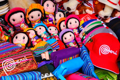 Display of traditional souvenirs at the market in Lima, Peru Stock Images