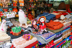 Display of traditional souvenirs at the market in Lima, Peru Stock Photography