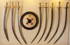 Display of traditional swords, Mehrangarh Fort museum, Jodhpur, Royalty Free Stock Photo