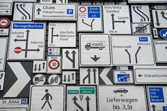 Display of the traffic signs at the exterior wall of the Swiss Museum of Transport in Lucerne, Switzerland. Stock Photo