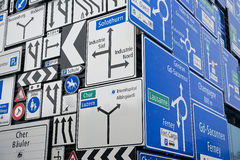 Display of the traffic signs at the exterior wall of the Swiss Museum of Transport in Lucerne, Switzerland. Royalty Free Stock Photo