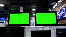 Display tv with green screen stock footage