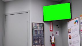 Display tv with green screen. Inside Life lab medical stock video