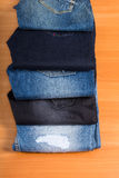 Display of Various Blue Jeans Fanned Out Royalty Free Stock Photos