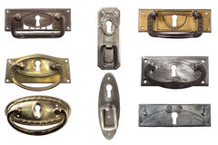 Display of vintage furniture hardware. Antique handles. royalty free stock photography