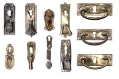 Display of vintage furniture hardware. Antique handles. Royalty Free Stock Image