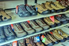 A display of walking boots, Royalty Free Stock Photography