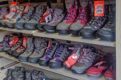 A display of walking boots Royalty Free Stock Photos
