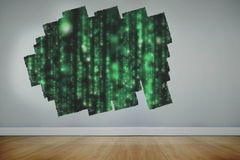Display on wall showing green matrix stock illustration