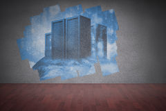 Display on wall showing server towers Royalty Free Stock Photos