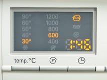 Display washing machine. Macro photo part of modern home washing Stock Photography