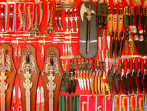 Display of weaponry at the street market, Pushkar, India Stock Photos
