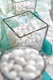 Display of white sugar coated almonds Royalty Free Stock Photo