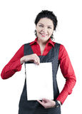 Display woman. 30 y.o. attractive business woman in red blouse show royalty free stock image