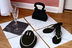 Display of Women's Accessories in Black and White Royalty Free Stock Photography