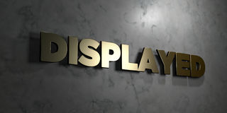 Displayed - Gold sign mounted on glossy marble wall  - 3D rendered royalty free stock illustration Royalty Free Stock Images