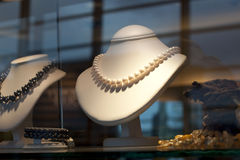Displayed pearl jewelery Royalty Free Stock Images