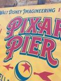 Pixar Pier poster. Displayed Pixar Pier poster located at Disney California Adventure, part of the Disneyland Resort, located in Anaheim, California (USA stock images