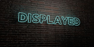 DISPLAYED -Realistic Neon Sign on Brick Wall background - 3D rendered royalty free stock image Stock Image