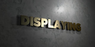 Displaying - Gold text on black background - 3D rendered royalty free stock picture. This image can be used for an online website banner ad or a print postcard Royalty Free Stock Photography