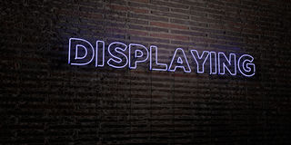DISPLAYING -Realistic Neon Sign on Brick Wall background - 3D rendered royalty free stock image Stock Photo