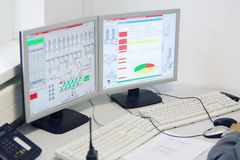 Displays in control center at factory Caparol Stock Photography