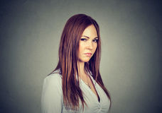 Displeased angry woman with bad attitude looking at you Stock Images