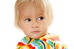 Displeased baby boy Stock Image