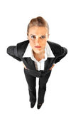 Displeased business woman with hands on hips Royalty Free Stock Photography