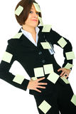 Displeased Businesswoman With Blank Post It Stock Photos
