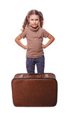 Displeased distraught little girl failure to travel isolated on Royalty Free Stock Images