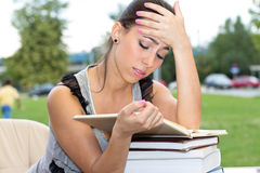 Displeased female student Royalty Free Stock Images