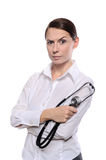Displeased medical female doctor Royalty Free Stock Photo