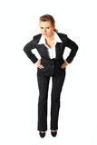 Displeased Modern Business Woman Isolated On White Royalty Free Stock Image