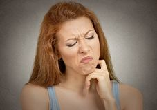 Displeased pissed off woman Stock Photo