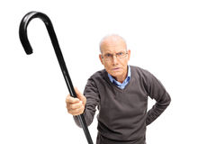 Displeased senior scolding someone Royalty Free Stock Photography