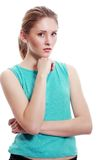 Displeased woman. Closeup portrait displeased, pissed off, angry, grumpy, young woman with bad attitude, arms crossed looking at you, isolated white background Stock Images