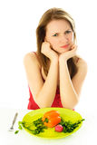 Displeased woman keeping a diet Royalty Free Stock Image