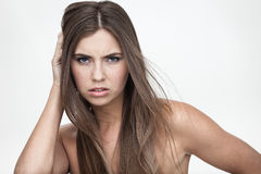 Displeased woman portrait Royalty Free Stock Images