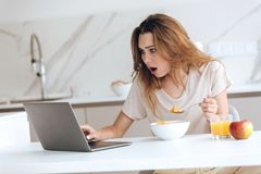 Displeased young woman using laptop in kitchen. Displeased young woman using laptop computer in kitchen while eating breakfast Royalty Free Stock Photos