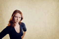 Displeased young woman Royalty Free Stock Images